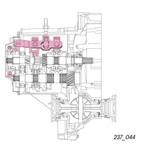 Внутренний механизм переключения передач МКПП Фольксваген